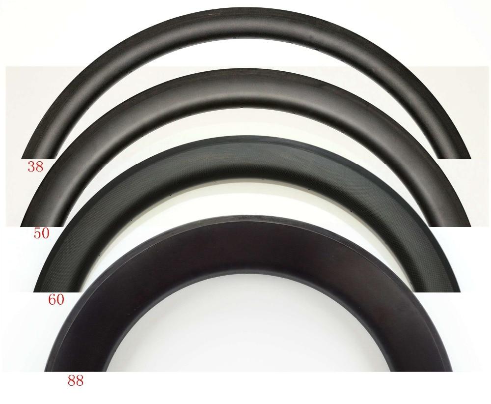 700C 30 38 45 50 60 88mm depth 25mm Width full Carbon bike rims Clincher Tubular