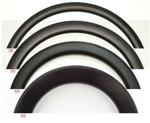 Image 1 - 700C 30/38/45/50/60/88mm tiefe 25mm Breite voll Carbon bike felgen Klammer/Rohr rennrad einzel Felge 3 karat/UD matte finish