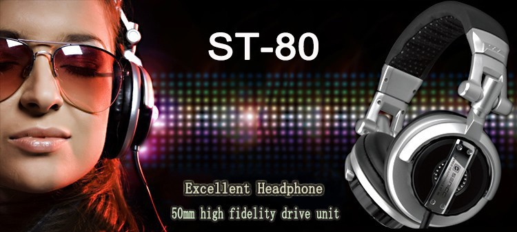 Foldable Professional Monitor Music Hifi Headphones Somic ST-80 Super Bass Noise-Isolating DJ Headset Without Mic Stereo Earphones (1)