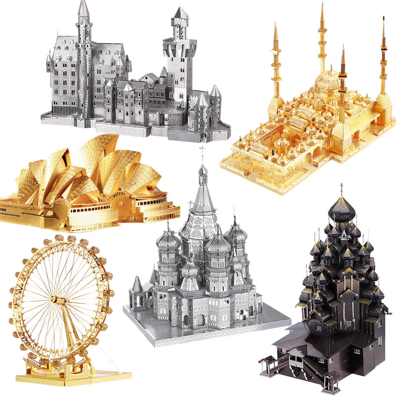 Piececool 3D Metal Puzzle Toy DIY Church Castle Ferris Wheel Big Ben Dutch Windmill Building Kits Metal Puzzles Toys For Kids