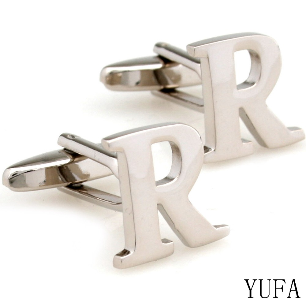 a pair french cufflinks for mens cufflinks initial personalized silver capital alphabet letter cufflinks with gift