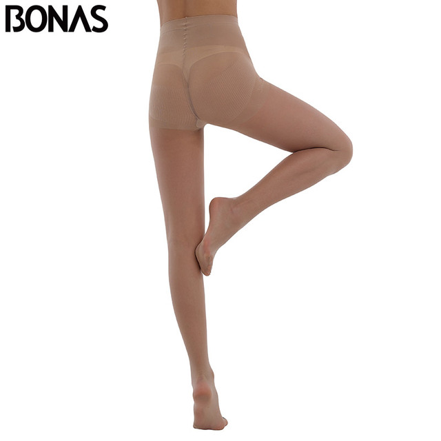 BONAS 20D Sexy Breathable Tights Women High waist Sun Protection Pantyhose T crotch Nylon Tights Stretchy Slim Stockings Female 4