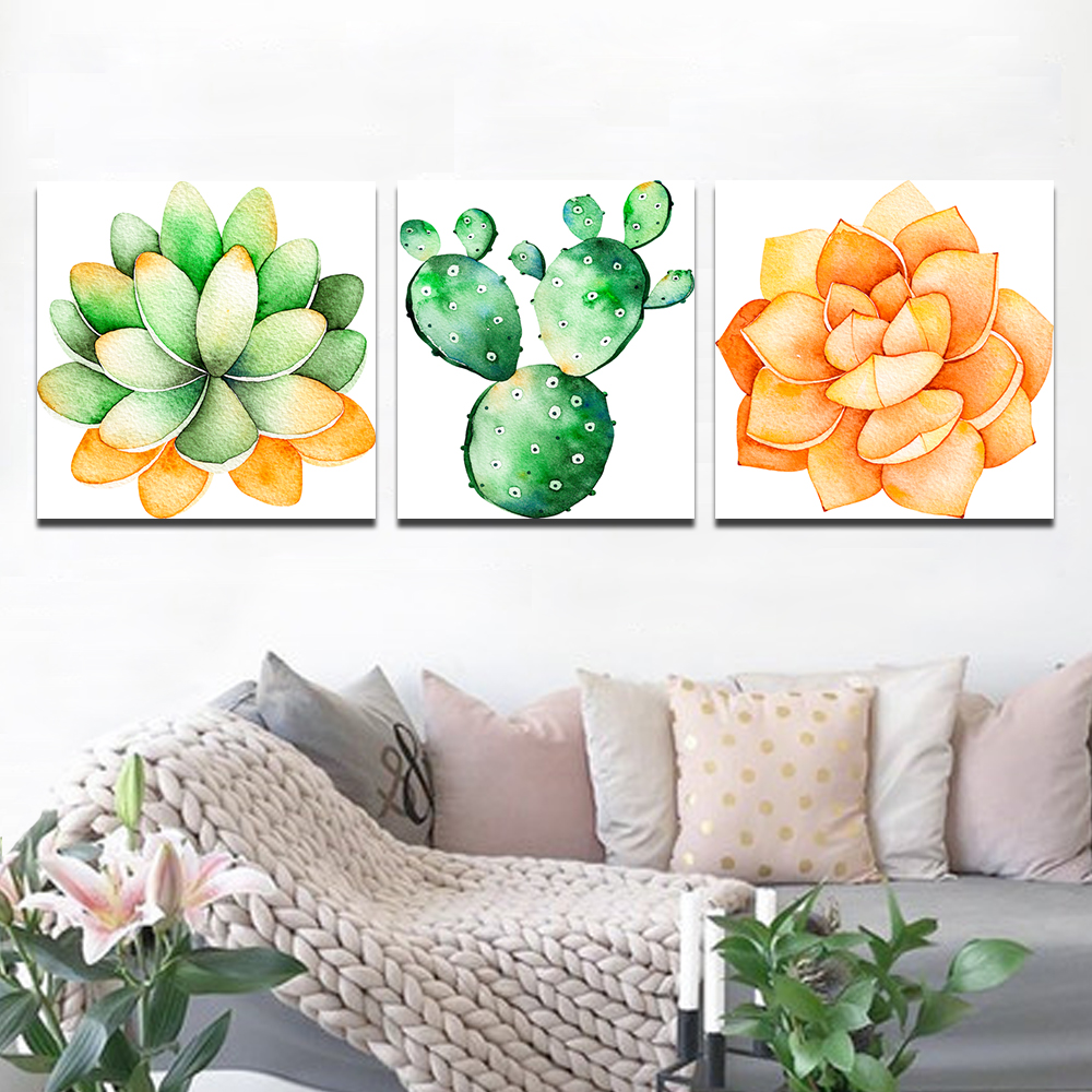 Unframed 3 Canvas Art Paintings Cactus and Orange Aloe Spray Mural Living Room Decorative Oil Painting Free Shipping