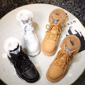 Image 5 - Kış moda beyaz rahat bayan botları hakiki deri platformu spor yüksek top kadın ayakkabısı yeni rahat yün sıcak çizmeler