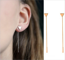 New Simple Punk Triangular Heart Geometric Metal Chain Tassels Ear Jewelry Drop Earrings Vintage Long Chain
