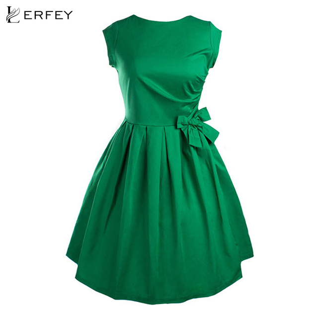 LERFEY Women Sleeveless Vintage Dresses Sweet  Slim Bowknot Dress Party Dresses Retro Vestido Feminino New Fashion Clothings
