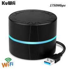 KuWFi 1750Mbps Wifi Adapter Dual Band 2.4GHz/450Mbps+ 5GHz/1300Mbps USB3.0 PC Wireless Network Card for Desktop