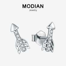 Modian New Sale Real 925 Sterling Silver Tiny Lovely Cupids Arrow Stud Earrings Fashion Clear CZ For Women Fine Jewelry