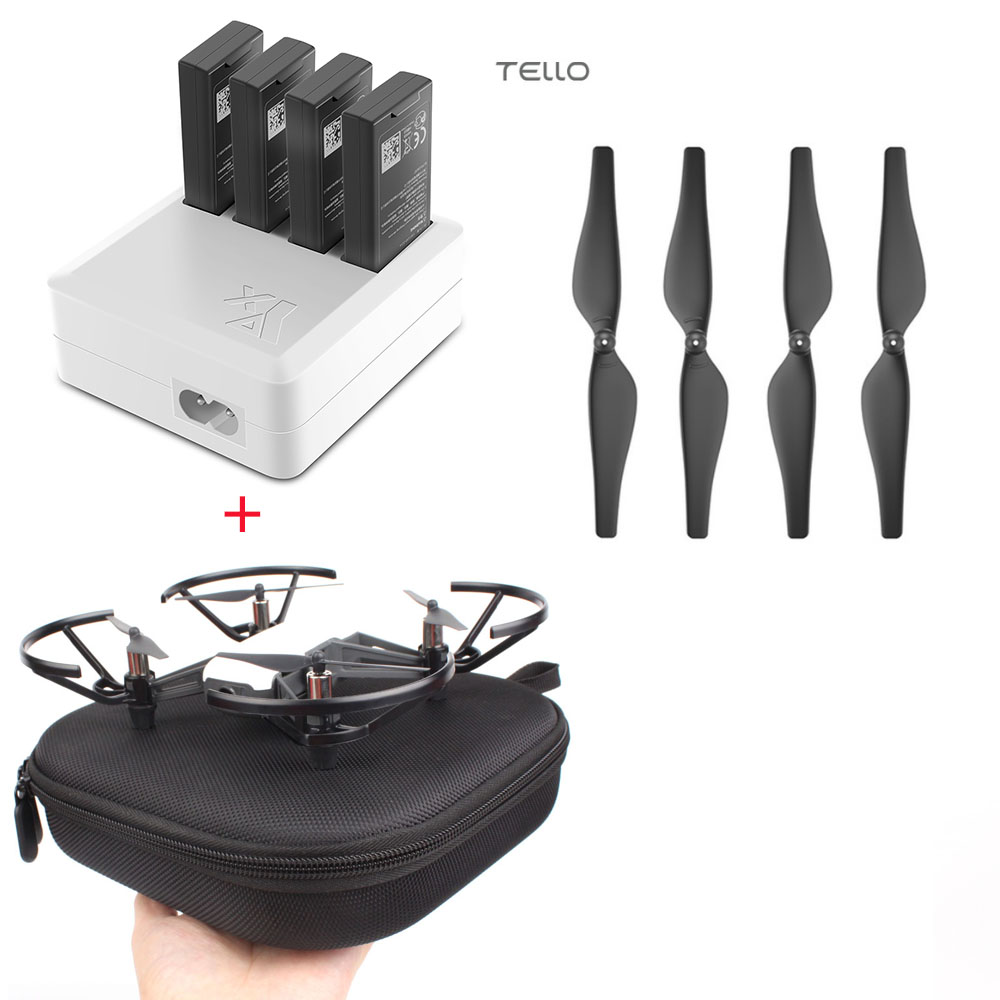 DJI TELLO Charger 4in1 Multi Battery Charging Hub + Carrying Case Storage Box + Quick-Release Propellers Propeller tello charger 4in1 multi battery charging hub for dji tello 1100mah drone intelligent flight battery quick charging us eu plug