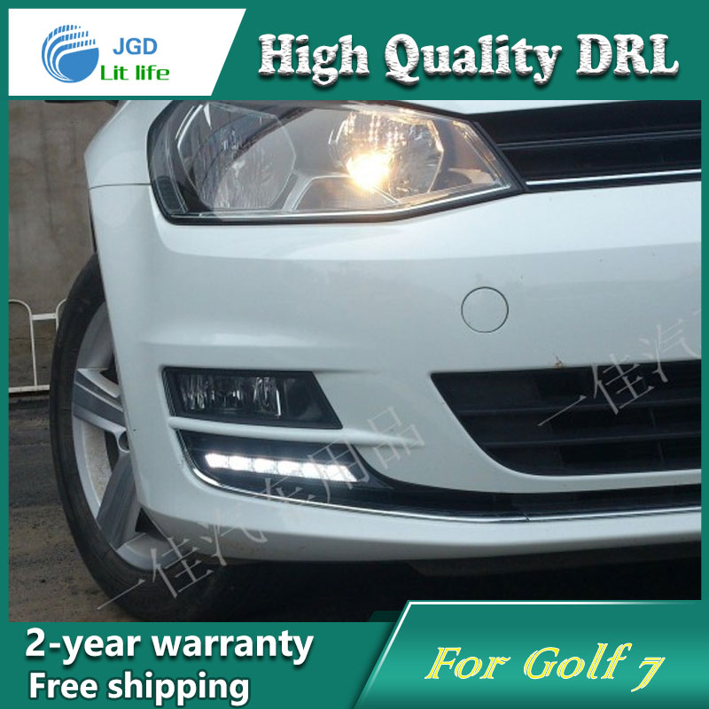 high quality ! 12V 6000k LED DRL Daytime running light case for VW Golf 7 2014 Fog lamp frame Fog light Car styling high quality 12v 6000k led drl daytime running light case for ford ecosport 2013 2014 fog lamp frame fog light super white