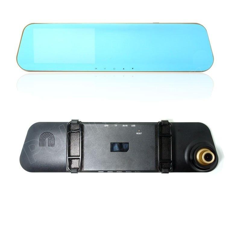 4,3 pulgadas Full HD 1080 P coche DVR espejo de revisión grabadora de vídeo Digital Auto registrador videocámara con cámara trasera dual de la lente - 3