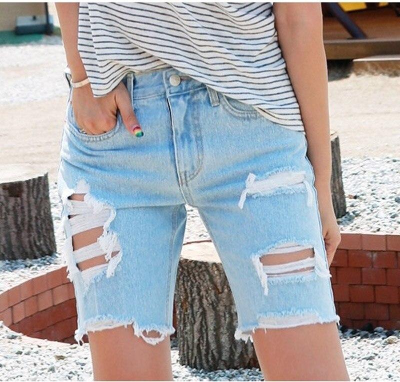 ripped up jean shorts - Jean Yu Beauty
