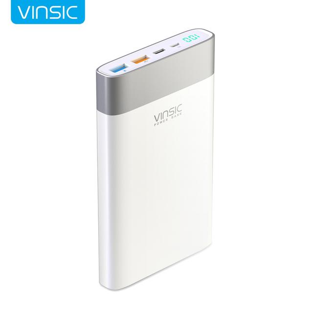 Vinsic 20000 mah banco de la energía de carga rápida 3.0 2.4a dual de salida con tipo c adaptador de puerto para el iphone xiaomi huawei y otro teléfono
