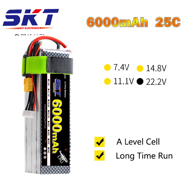 2018 SKT RC Lipo Bateria 22.2V 6000mAh 25C Max 100C 6S 22.2V RC LiPo Battery AKKU For Airplane Helicopter Drone Tank Car 3 pcs lot 7 4v 1500mah 25c lipo battery for wltoys v913 q212g v912 v262 l959 l979 jst plug for rc helicopter drone bateria