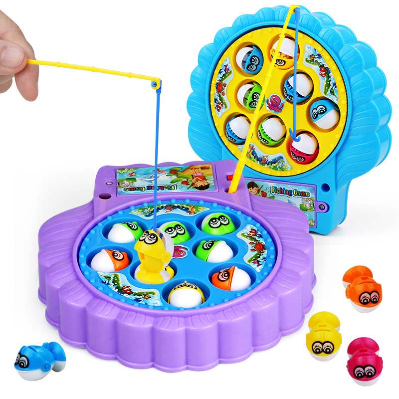 Childrens Muscial Magnetic Fishing Toys Educational Toys Musical Gifts Electric Rotating Fishing Game 8 Fishs