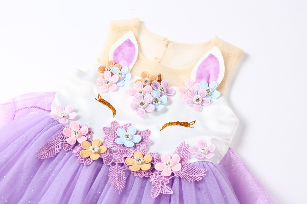 e6c9fefa41cd4 New 2Pcs Unicorn Party Baby Girls Dress 2019 Summer Infant Party Dresses 1  Year Birthday Dresses For Baby Girls Newborn Clothes