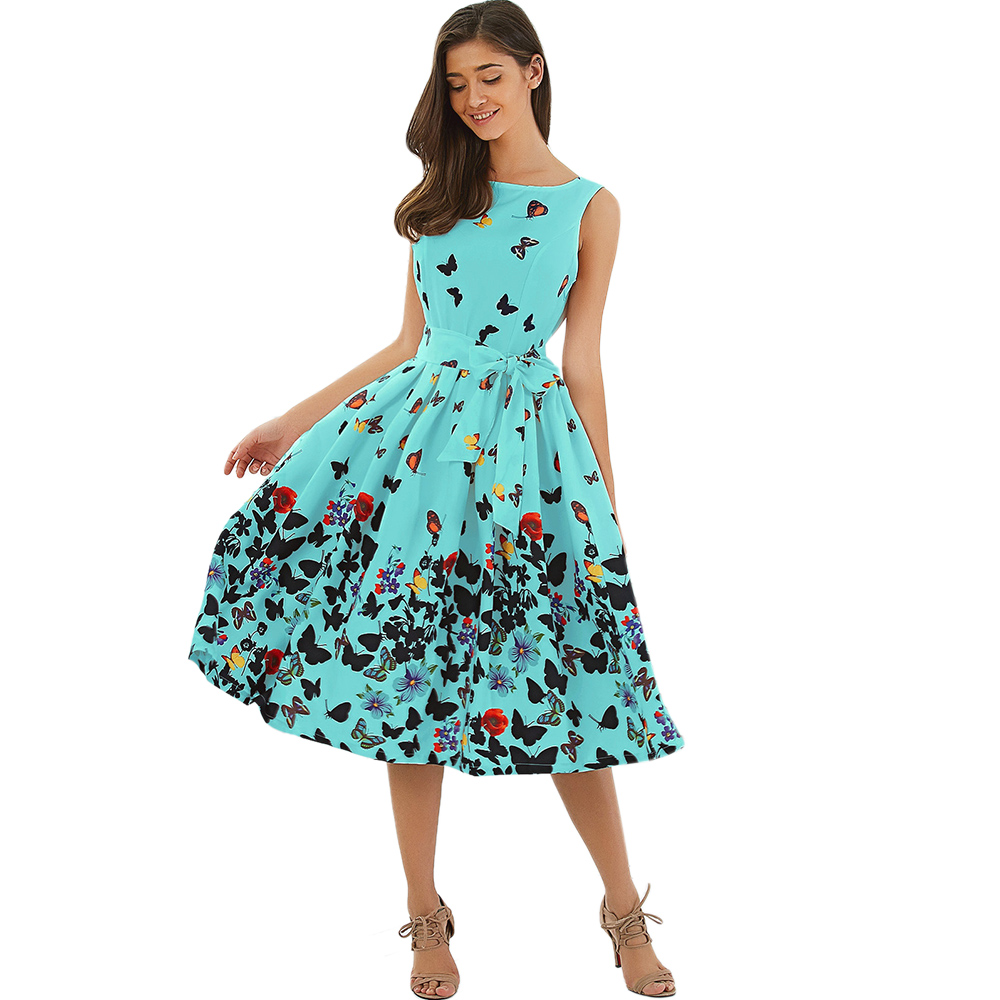 foto de Wipalo Pin up butterfly print vintage Summer dresses 2017