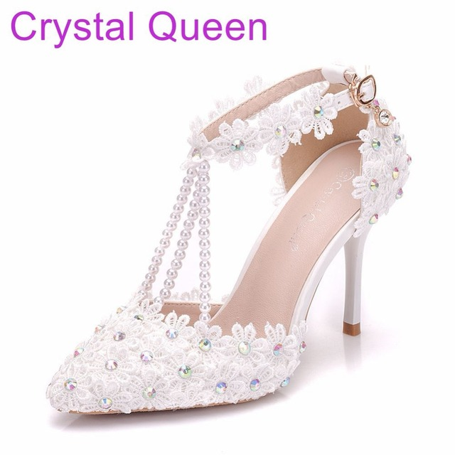 30ff4605dadb6f Crystal Queen Women Thin Heel Sandals High Heels Female White Lace Wedding  Shoes Pointed Toe Lace Flower Pearls Pumps