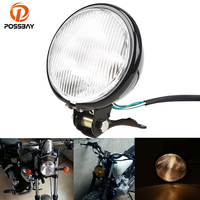 POSSBAY Retro 5 Motorcycle Headlight Head Lamp Amber Halogen Front Light 12V for Honda Suzuki Yamaha Kawasaki Custom Motor Bulb