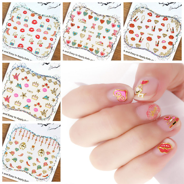 30pcs Colorful 3D Nail Sticker Lip/High Heel/Love Design Nail Decal ...