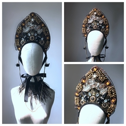 Hand made move retro crown baroque gothic catwalk show exaggerated modelling hair fashion pictorial art