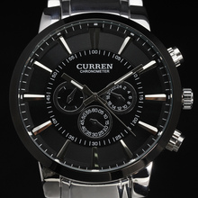 2016 new curren ultrl big dial retro fashion design business clock luxury steel stainless man male