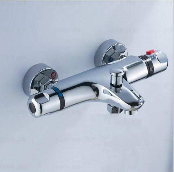 Brass Thermostatic Shower Faucet Mixing Valve Dual Handle: 2 Water Outlet 2 Handle Bathroom Thermostatic Shower