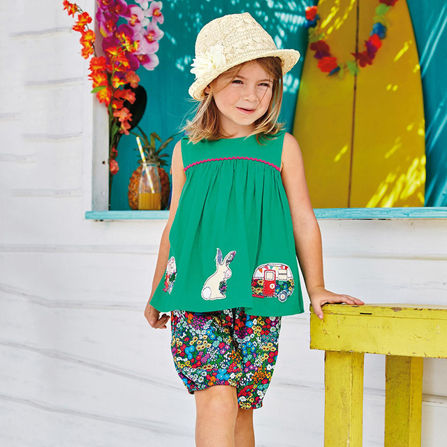 Girl's Floral Pattern Cotton Clothing Set