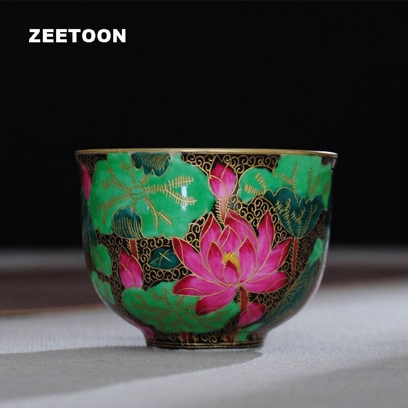 80 мл бутики Цзиндэчжэнь керамика кунг фу чашка для чая инкрустация проволокой лотос цвет эмаль фарфоровая чашка чайная чаша винтажный дома