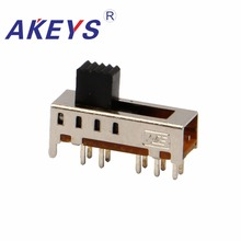 SS-24E01 2P4T Double pole four throw 4 position slide switch 10 pin DIP type with 2 fixed pin handle heights can be customized 100pcs 6p 6 position dip switch 2 54mm pitch 2 row 12 pin