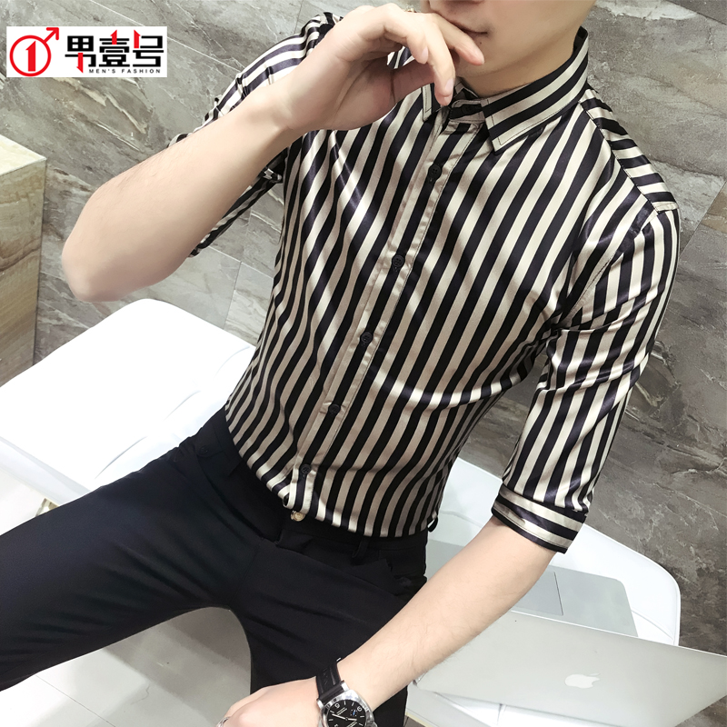 M-3XL 2018 New men's clothing singer GD Hair Stylist Fashion British Personality Stripe Shirt plus size costumes