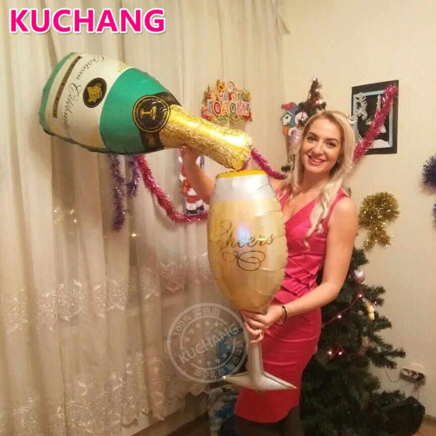 Tamanho grande 2 pçs/lote champanhe copo garrafa de cerveja balões folha alumínio hélio festa de aniversário casamento decoração para casa bolas globos