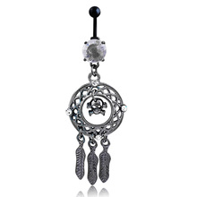 Body Jewelry Crystal Gem Retro  skull Dream Catcher Navel Dangle Belly Barbell Button Bar Ring Body piercing Art 0973