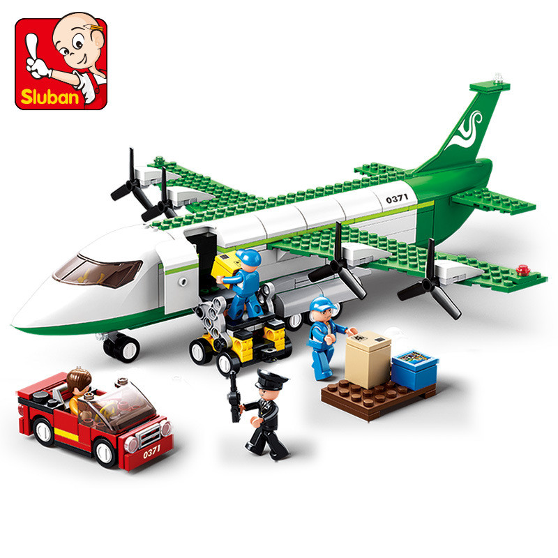 Sluban 383pcs Legoing City Airplane Toy Air Bus Airplane Building Blocks Model Aircraft Toy DIY Plane Bricks Toys Christmas Gift electric air bus model toys moving flashing led light sounds kids toy assembling aircraft children gift a380 airbus music toy