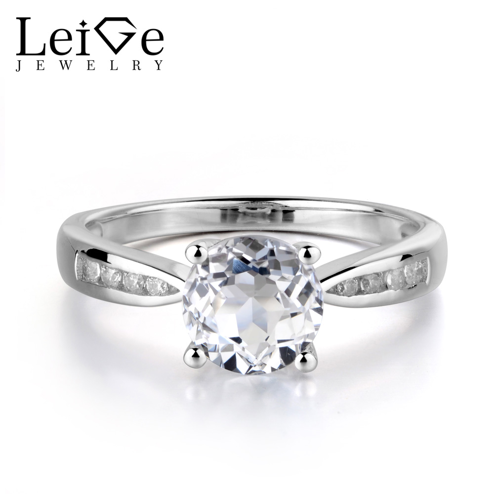 Leige Jewelry Natural White Topaz Ring Round Cut Gemstone 925 Sterling Silver Engagement Wedding Rings for Women Fine Jewelry nike перчатки мужские nike rally размер 6 7