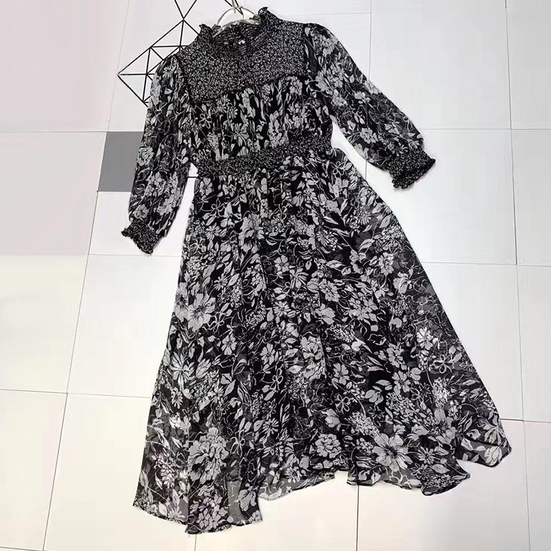 Longues Floral ligne Femmes Soie Maxi Mousseline Vintage À Manches Tendance Robe A Décontracté Élégante Boho De 2019 g4qSYxwr4