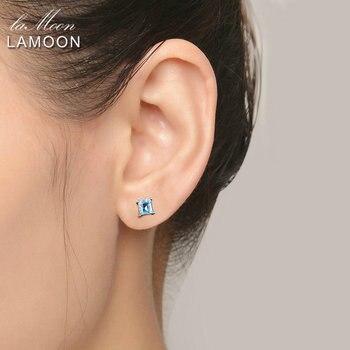 LAMOON Simple Earring 4mm 100% Square Natural Blue Topaz 925 sterling-silver-jewelry Gemstone Stud Earrings for Women EI046