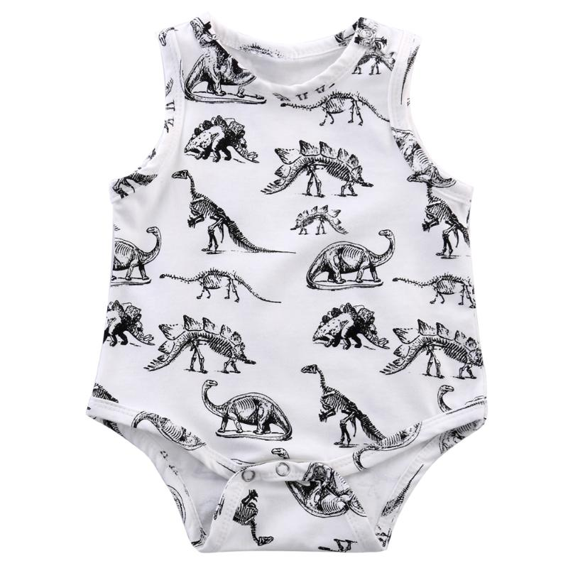 New Baby Romper Cartoon Dinosaur Print Newborn Cotton Overall Summer Sleeveless Jumpsuit Cothes Body Suit