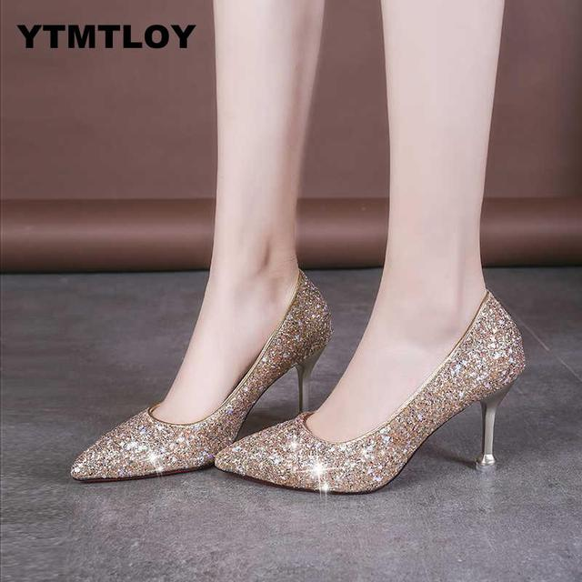 Plus Size 33-41 Sequins Pointed Toe
