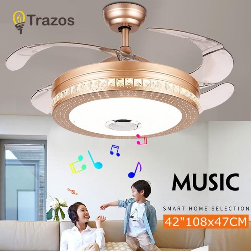 Bluetooth Ceiling Fan: TRAZOS Modern Ceiling Fans Bluetooth Remote Control White