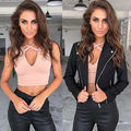 Fashion Women Tank Tops Bustier Vest Cross  V-Neck Top Ladies Black tops