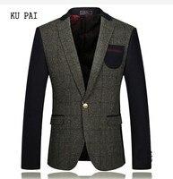 2017 autumn and winter suit wool woolen suit jacket business gentleman thick section men's clothing grid fight color single suit