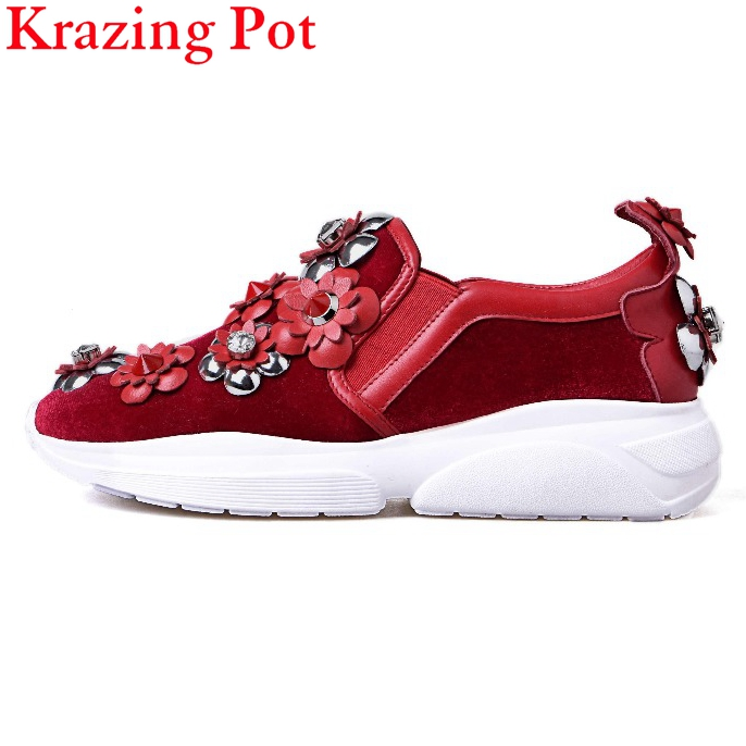 Fashion new Brand Flower Crystal Increasing Flat Platform Causal Shoes for Woman Elegant Loafers Handmade Lady Casual Shoes L9f2