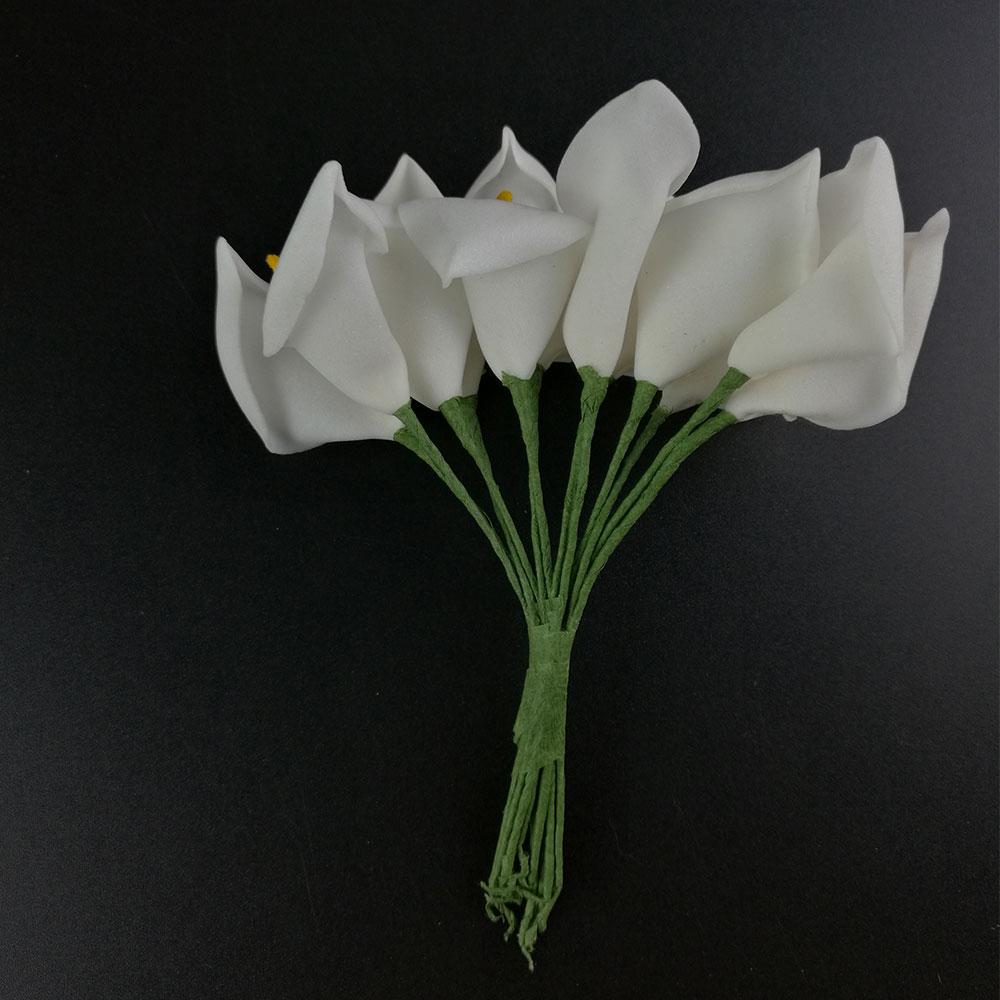 24 SCRAPBOOKING FOAM FLOWERS HANDMADE CALLA LILY BUNCH UK FFEW