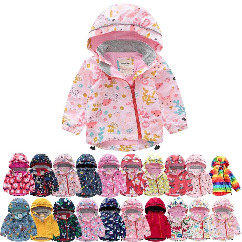 M145 printemps automne enfant épais polaire doublure veste rose imprimé Hoodies garçon et fille chaud manteau enfants hauts Outwear coupe-vent