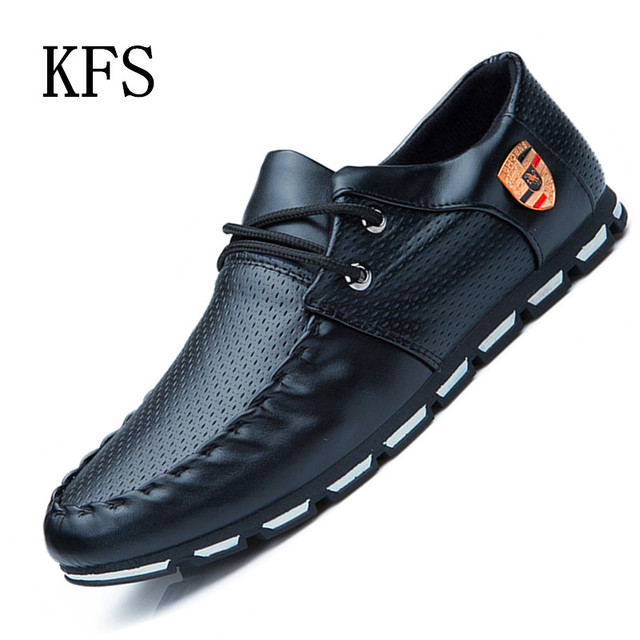 2016 New Fashion Men Loafers Luxury Brand Casual Lace-Up Leather Flats Shoes Men Lightweight Breathable Low Help Driving Shoes