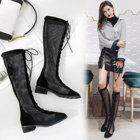 Lace wire mesh high tube cool boots hollow fashion straps women's shoes 2019 sandals female summer large size shoes