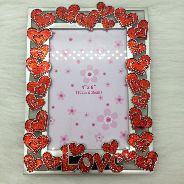 Matt Silver Red Heart with Glitter Modern Alloy Wedding Decoration ...