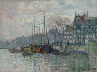 Claude Monet có khung trang trí nhà Canvas Vẽ Tranh 1 peça sông thuyền và Shore House tường nghệ thuật in Painting Đối Living Room