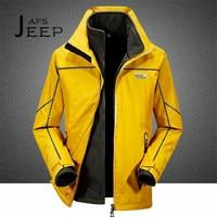 AFS JEEP Double Layer Winter Man S Liner Detachable Fleece Inner Waterproof Jacket Alpinismo Mans Warm